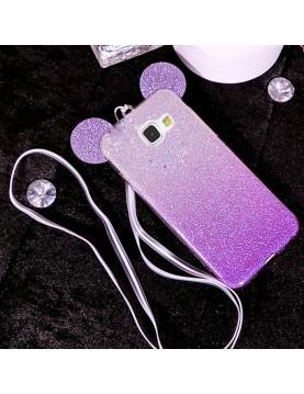 Coque-silicone-Samsung-Galaxy-S7-Edge-Oreilles-de-Mickey-pailletée-Violette