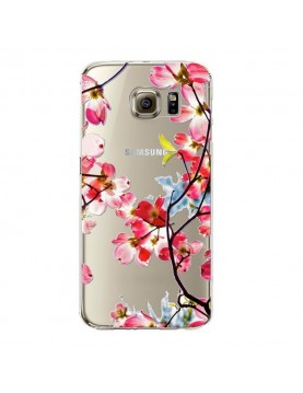 coque-silicone-transparente-Samsung-Galaxy-S6-imprimé-fleurs-de-printemps