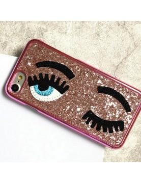 Coque 3D iPhone 7/8  rose pailleté yeux bleus clin d oeil