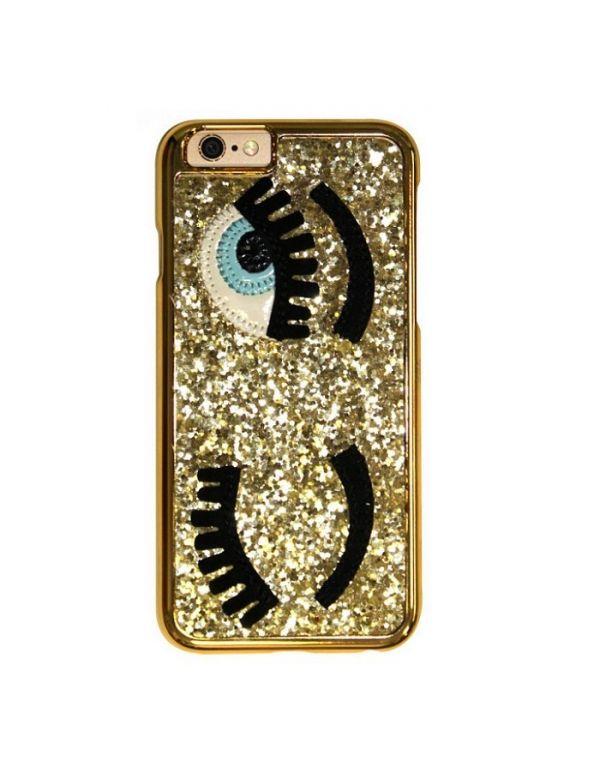 Coque 3D iPhone 7/8 or pailleté yeux bleus clin d oeil