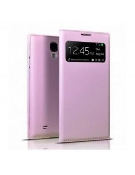 Étui-portefeuille-rose-à-fenêtre-Samsung-Galaxy-S4