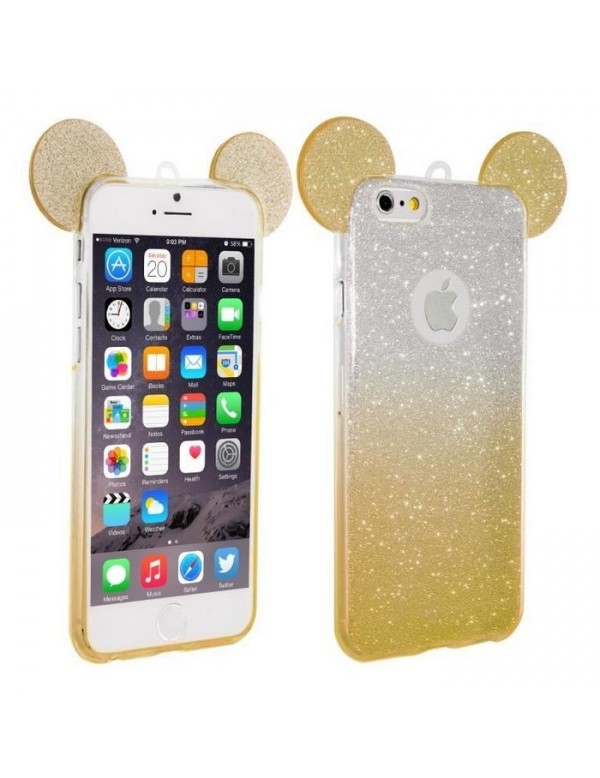 Coque silicone iPhone 7/8 - Oreilles de Mickey pailletée Or