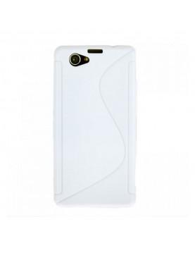 Coque-Sony-Xperia-Z1-Compact-Grip-Flex-Blanc-vue-face