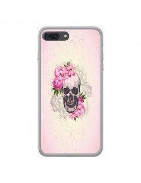 Coque rigide iPhone 8 plus/7 plus - Skull fleurs rose