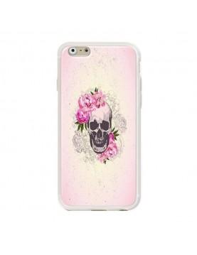 Coque rigide coté blanc iPhone 6/6S - Skull fleurs rose
