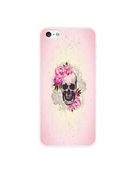 Coque rigide coté blanc iPhone 5/5S - Skull fleurs rose