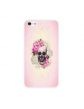 Coque rigide coté blanc iPhone 4/4S - Skull fleurs rose