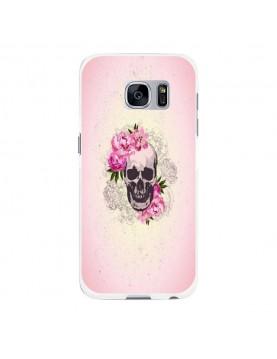 Coque rigide coté noir Samsung Galaxy S7 Edge - Skull fleurs rose