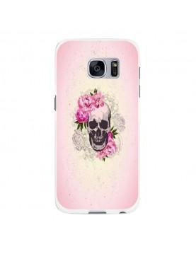 Coque rigide coté blanc Samsung Galaxy S6 Edge Plus - Skull fleurs rose