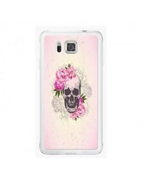 Coque rigide coté blanc Samsung Galaxy Alpha - Skull fleurs rose