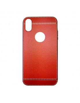 Coque-silicone-iPhone-X-Aspect-cuir-rouge