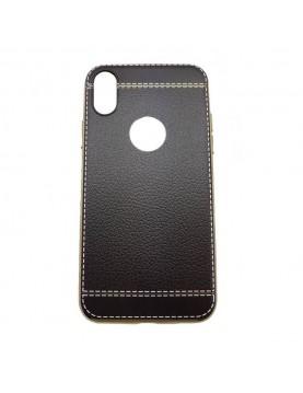 Coque silicone iPhone X Aspect cuir noir