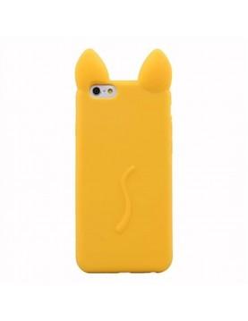 Coque silicone jaune iPhone 5/5S oreille de chat en 3D