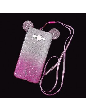 Coque- silicone- Samsung- Galaxy- Grand- Prime/VE - Oreilles- de- Mickey- pailletée- rose