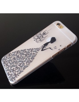iPhone 6 plus/6S plus - Coque souple transparente robe diamant noir