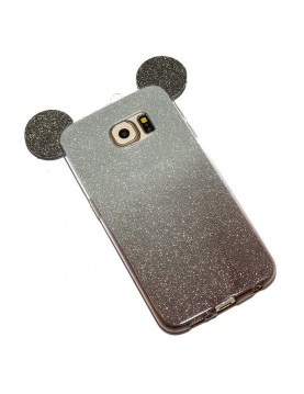Coque- silicone- Samsung- Galaxy- S7  - Oreilles- de- Mickey- pailletée- Noir