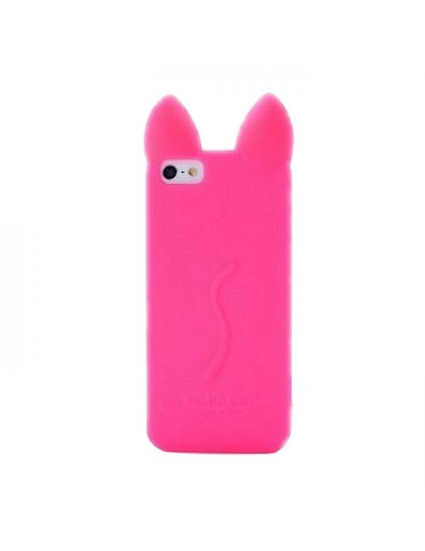 Coque silicone iPhone 6/6S - Oreilles de chat en 3D - Rose fuschia