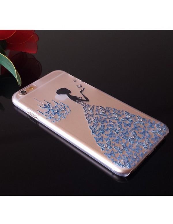 iPhone 6 plus/6S plus coque souple transparente robe diamant bleu