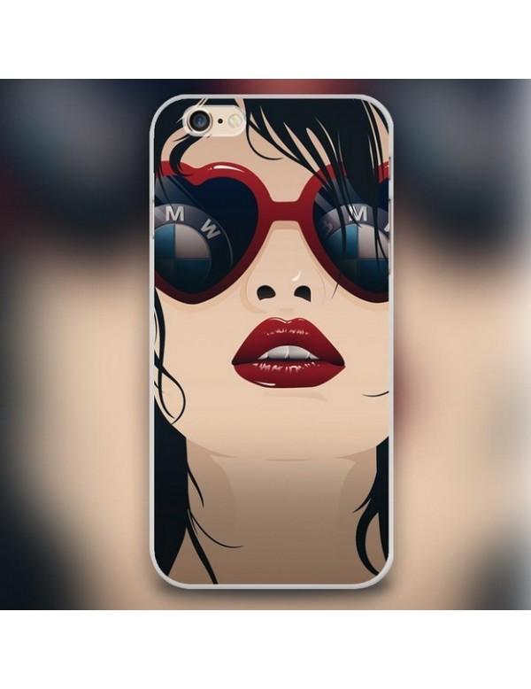 Coque Iphone 6 plus 6S plus Bmw fille à lunette rouge