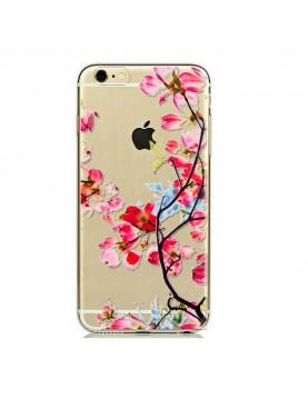 Coque silicone iPhone 6 Plus/6S Plus - Look belles fleurs rose