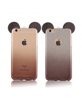 Coque silicone iPhone 6 Plus/6S Plus - Oreilles de Mickey pailletée Noir