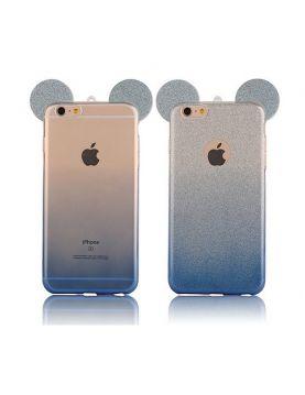 Coque silicone iPhone 6 Plus/6S Plus -  Oreilles de Mickey pailletée Bleu