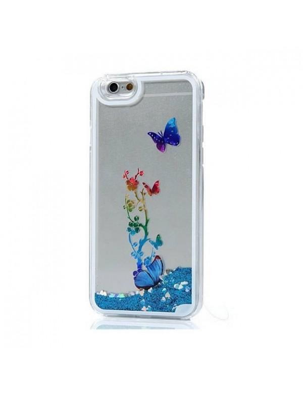 Coque iphone 6/6S - Sable mouvant fleurs papillon bleu clair
