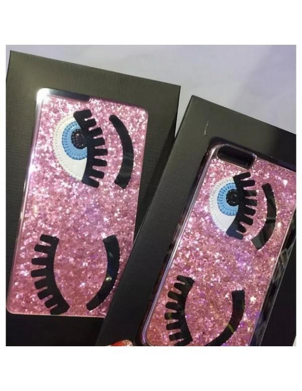Coque 3D iPhone 6/6S  rose pailleté yeux bleus clin d oeil