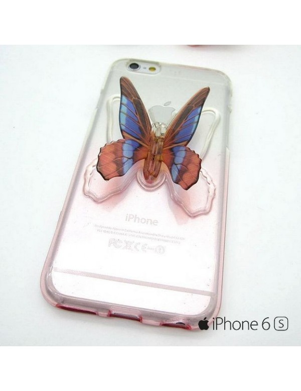 Coque silicone iPhone 6/6S  transparente Rose avec papillon 3D