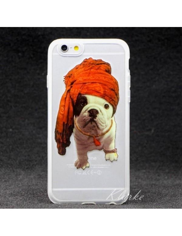 Coque souple iPhone 6/6S - Chien bouledogue avec un turban
