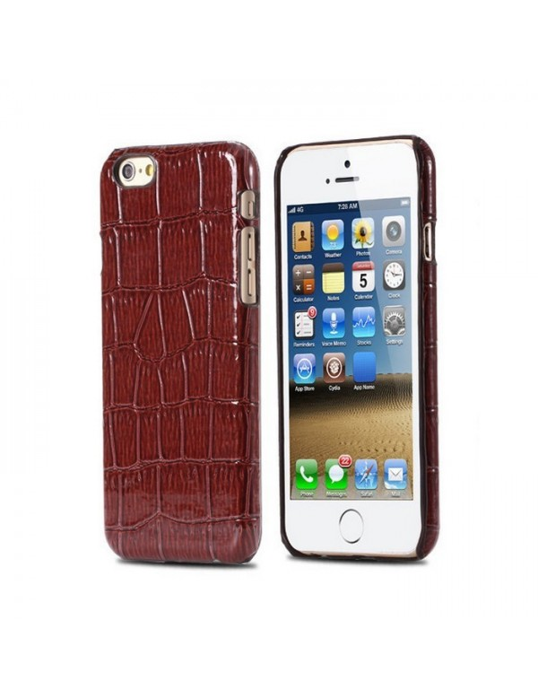 Coque rigide iPhone 6/6S -Imitation peau de crocodile marron