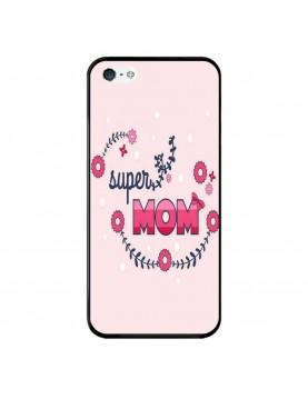 Coque-Rigide-iPhone-X-Super-Mom-Rose-Super-Maman