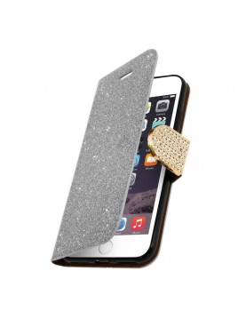 Etui portefeuille iPhone 5/5S, SE Paillettes Argent vue int