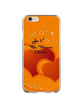 Coque rigide iPhone 6/6S orange - Je t aime ma maman cherie