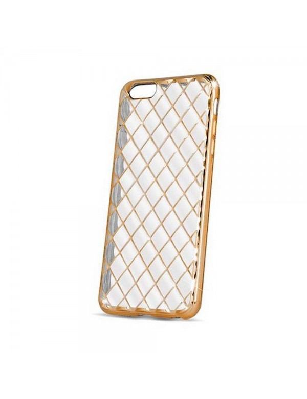 Coque en silicone souple pour iPhone 7/8 - Design grille or transparent