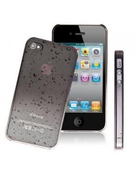 Coque rigide  iPhone 4/4S noir transparente effet 3d goutte de pluie