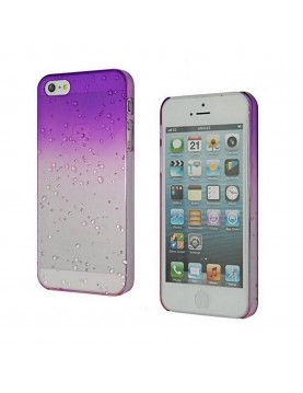 Coque rigide  iPhone 4/4S - Violet transparent effet 3d goutte de pluie