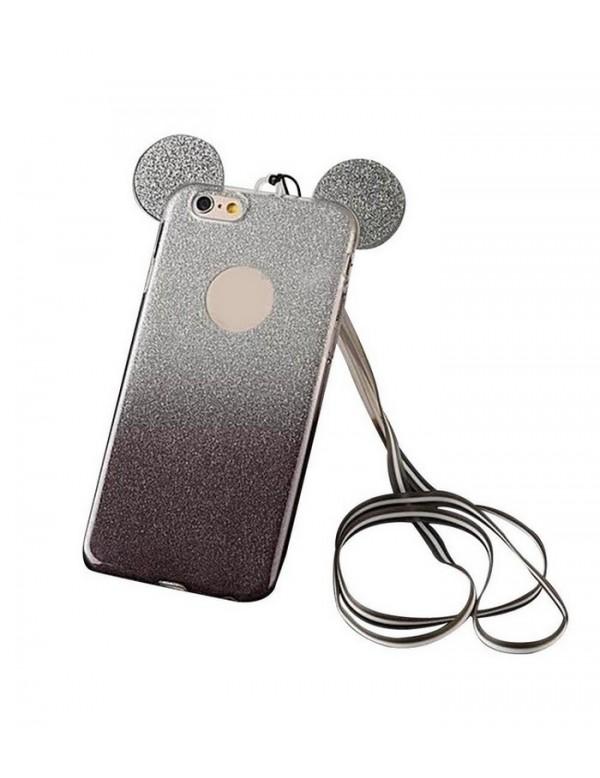 Coque silicone iPhone 6/6S - Oreilles de Mickey pailletée Noir en 3D