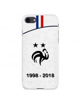 Coque rigide iPhone 7 et 8 - Football Champion du monde 2018 - Maillot blanc