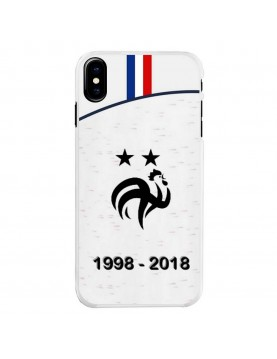Coque rigide iPhone X - Football Champion du monde 2018 - Maillot blanc