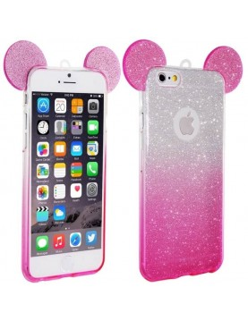 Coque silicone iPhone 6/6S - Oreilles de Mickey pailletée Rose