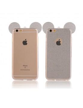 Coque silicone iPhone 6/6S - Oreilles de Mickey pailletée gris argent en 3D