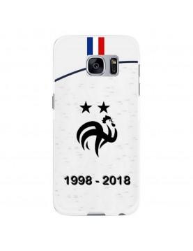 Coque rigide Samsung Galaxy S7 Edge - Football Champion du monde 2018 - Maillot blanc