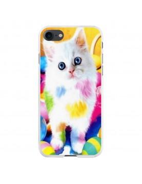 Coque-rigide-iPhone-7-8-chaton-blanc-peinture-couleurs