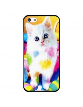 Coque-souple-iPhone-5-5S-SE-chaton-blanc-peinture-couleurs