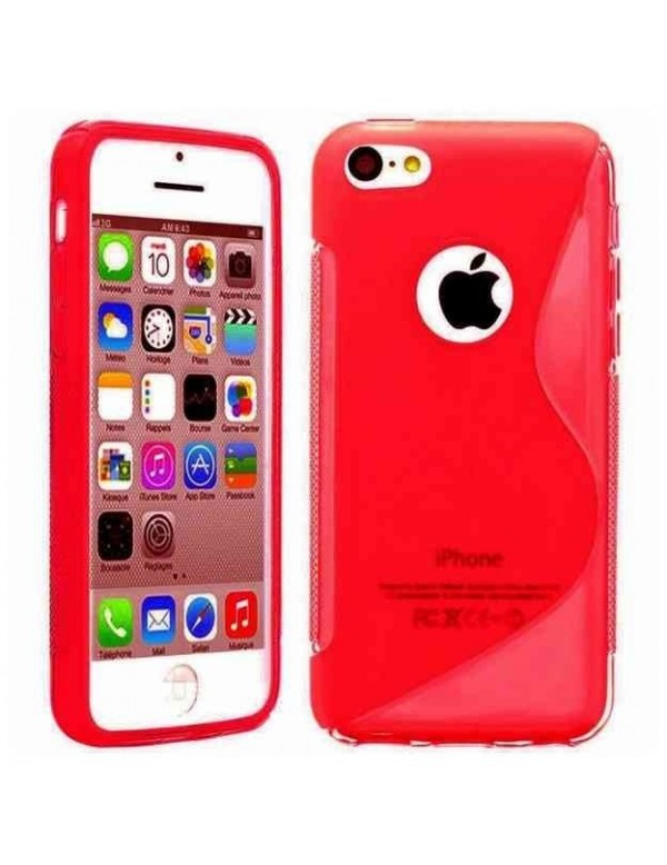 Coque en silicone S-Line rouge translucide pour iPhone 5C