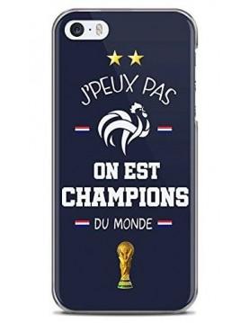 Coque rigide iPhone 5/5S, SE - Football On est Champion du monde 2018 - Merci les bleus!