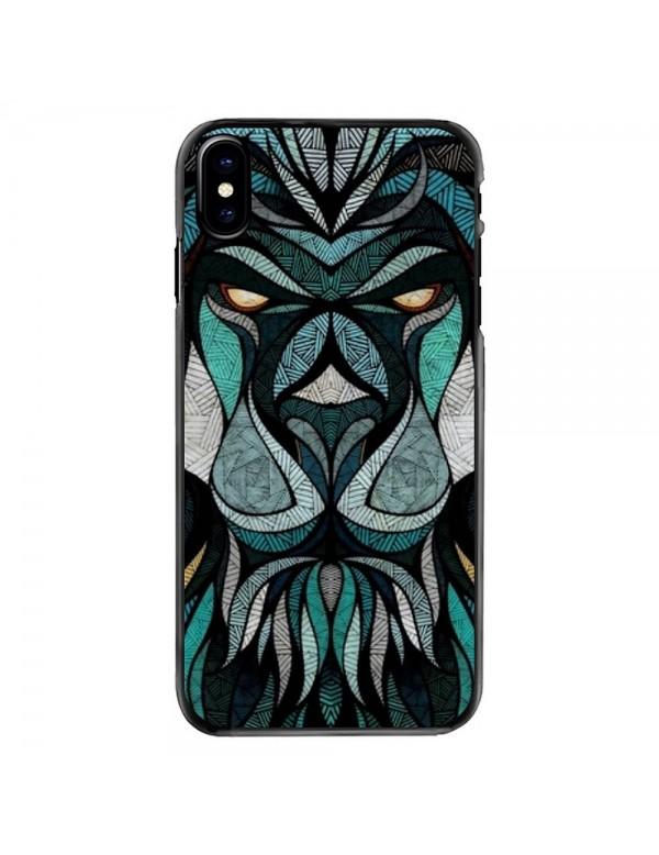 Coque souple iPhone X/XS - Motif tête de lion tribal