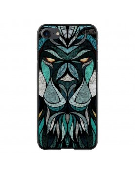 coque-rigide-iPhone-7-8-Tete-de-Lion-Trybal-Bleu
