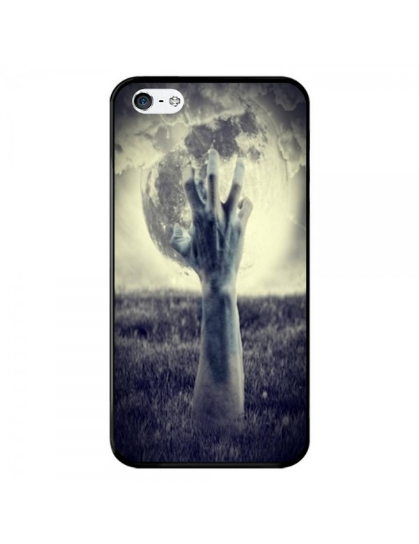Coque souple pour iPhone 4/4S - Halloween - Main effrayante pleine lune
